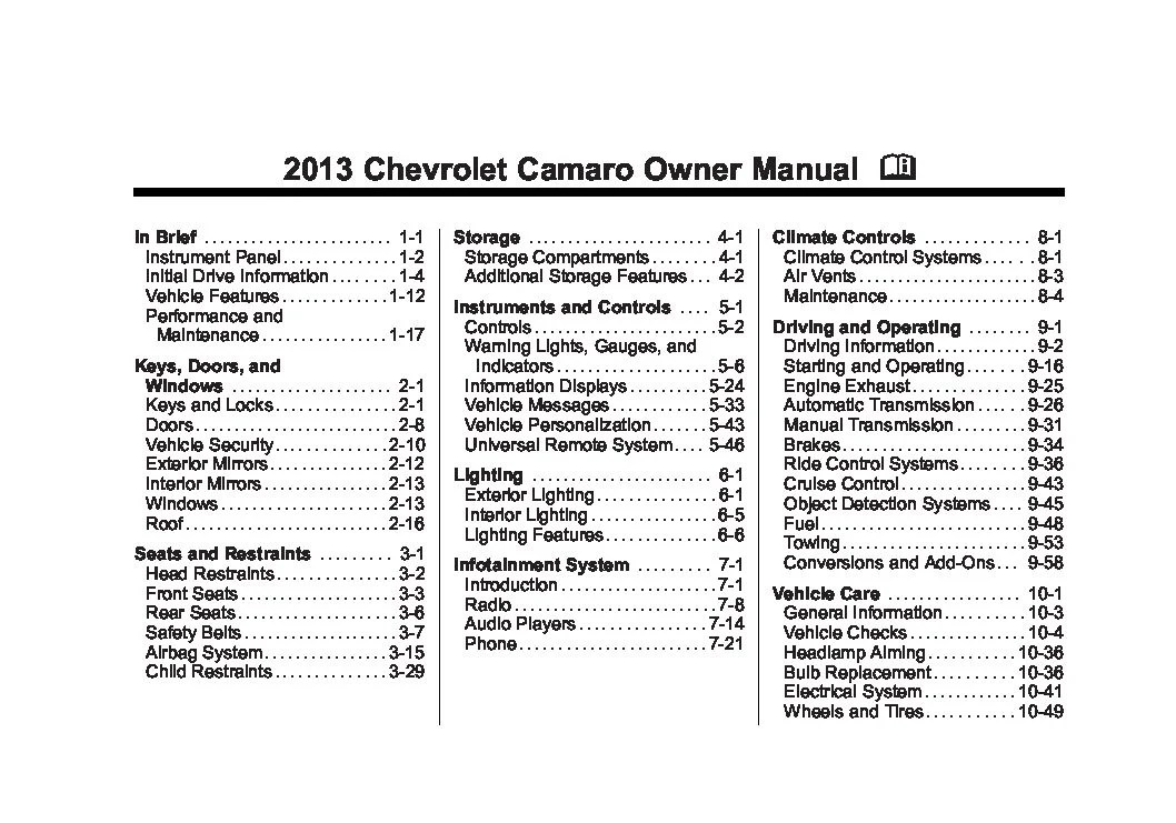 2013 chevrolet camaro Owners Manual Just Give Me The Damn Manual