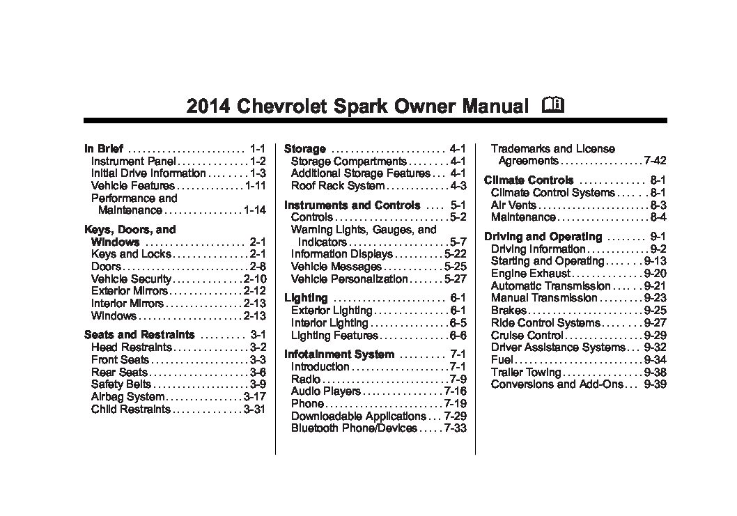2014 chevrolet spark Owners Manual Just Give Me The Damn Manual
