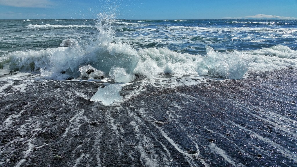 Ice washing upon the black sand beach
