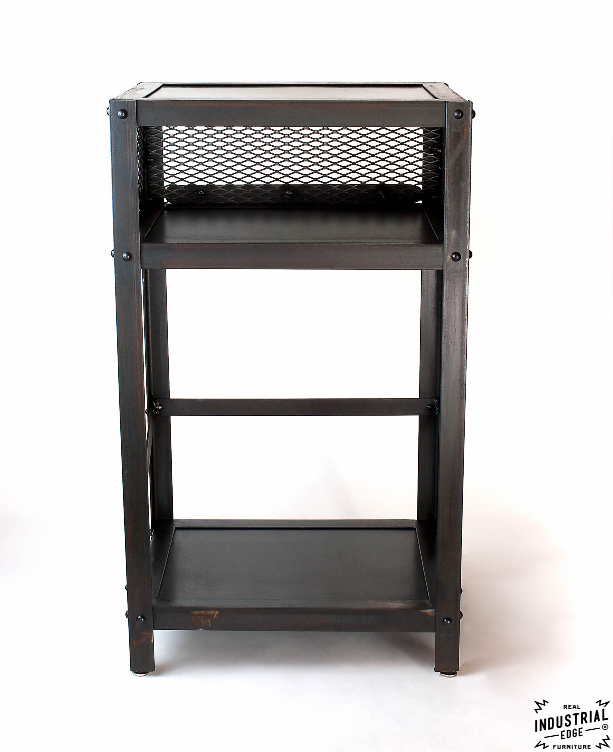 Small Industrial Side Table Industrial End Table Steel Real Industrial Edge