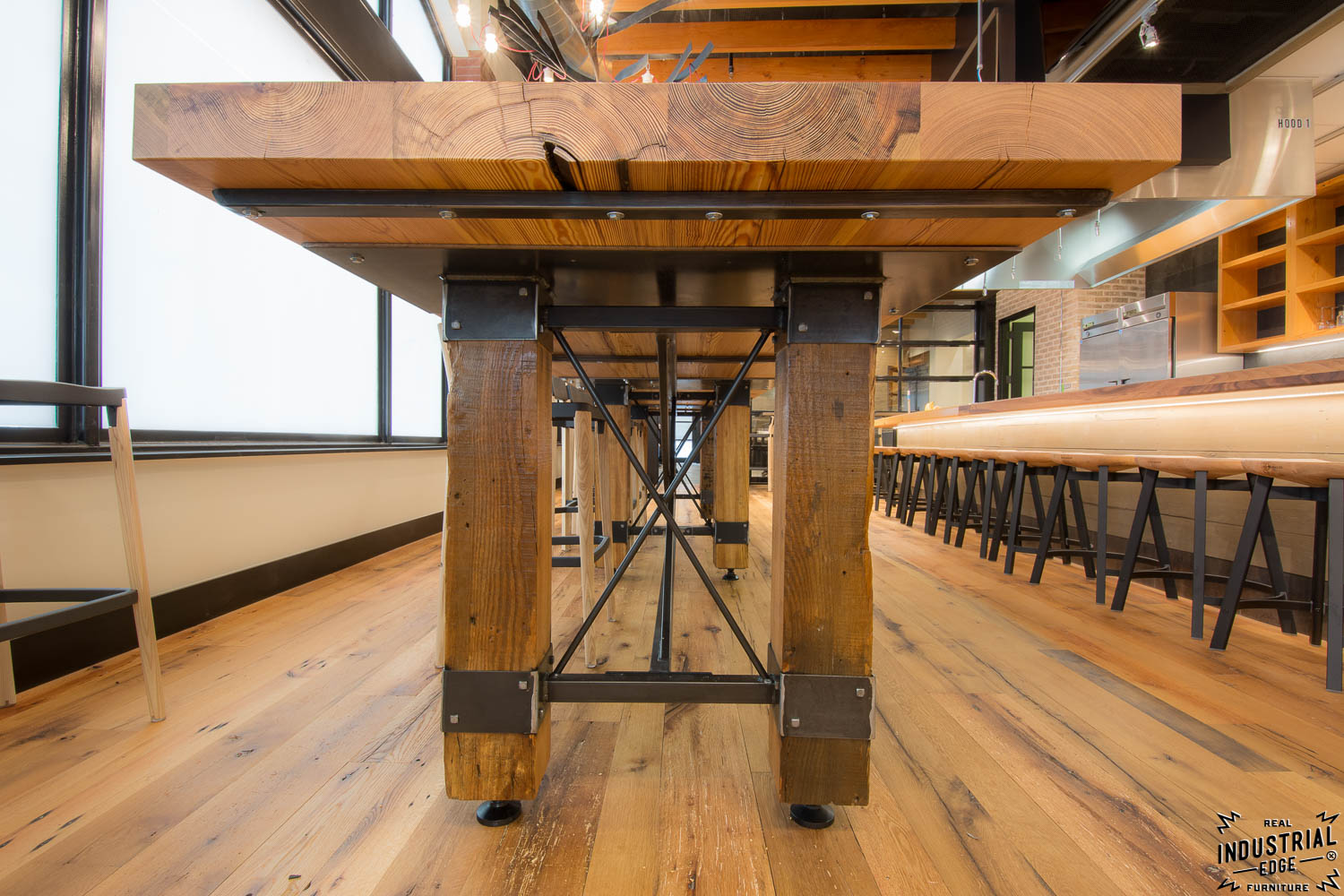 Industrial Kitchen Island For Sale Community Tasting Table / Reclaimed Heart Pine & Steel