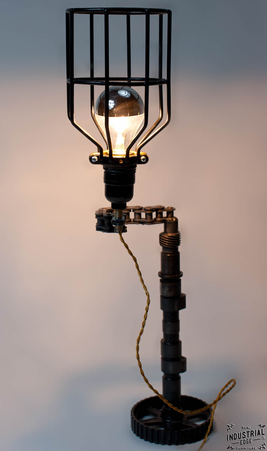 Upcycled Motorcycle Chain Lamp Real Industrial Edge Furniture Custom Industrial Vintage Handmade