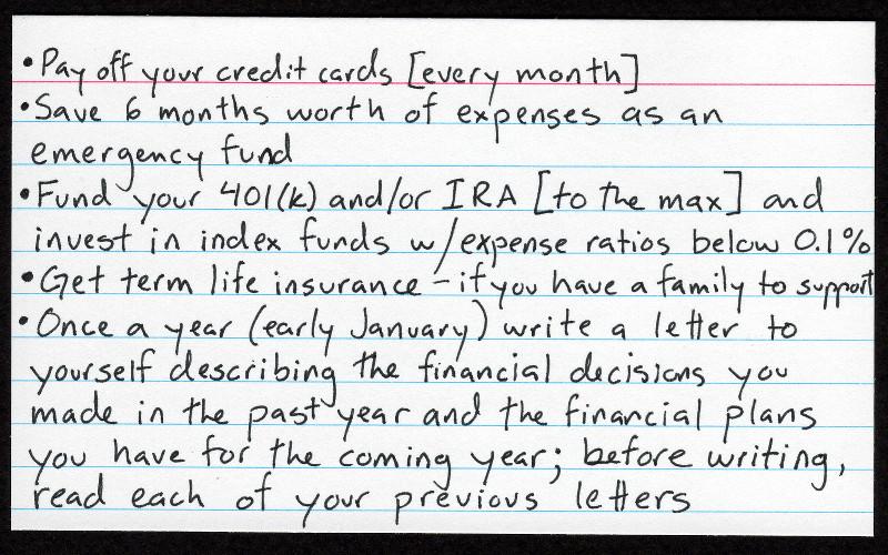 Index Card Financial Advice - Justinsomnia