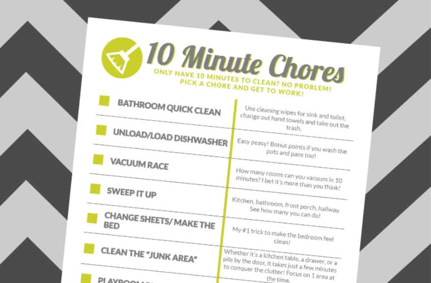 Free 10 Minute Chore Chart Printable - Just is a Four Letter Word