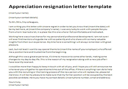 Appreciation resignation letter template Just Letter Templates - resignation letter with regret