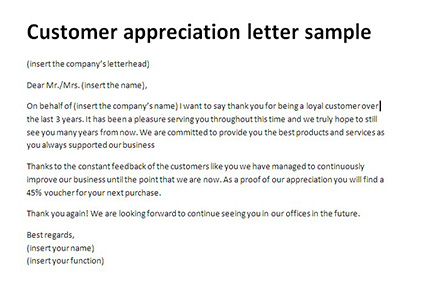 Customer appreciation letter sample Thank you client, letter