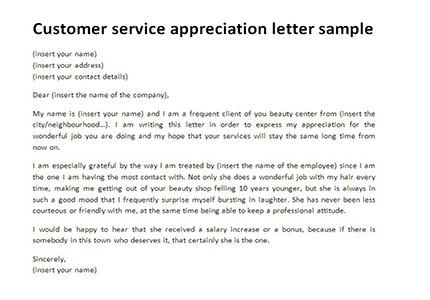 Customer service appreciation letter sample Letter templates