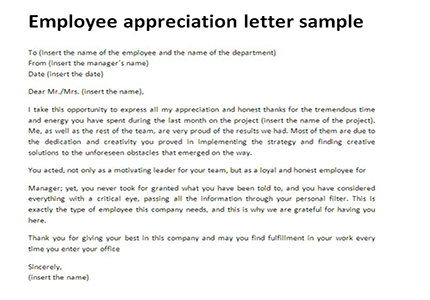 Employee appreciation letter sample Just Letter Templates - appreciation letter examples
