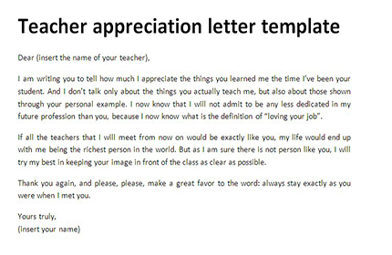 Teacher appreciation letter template Thank you letters - Letter To A Teacher