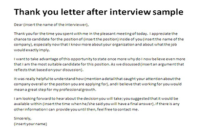 Thank you letter after interview sample Appreciation letter - Sample Thank You Letter After Interview