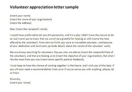 Volunteer appreciation letter sample Volunteer thank you letter