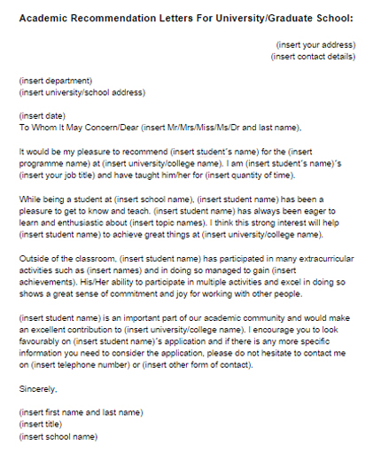 Academic Recommendation Letter Sample Just Letter Templates