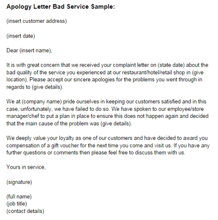 Apology Letter for Bad Service Sample Just Letter Templates - letter of apology sample