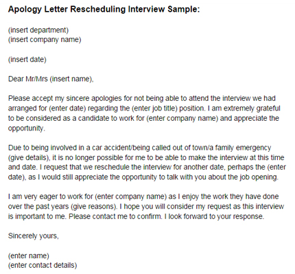 Apology Letter Reschedule Interview Sample Just Letter Templates - letter of apology sample