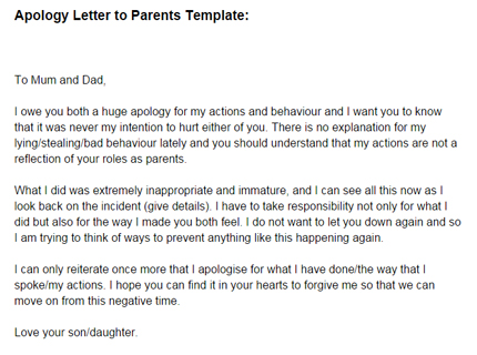 Apology Letter to Parents Template Just Letter Templates - Apology Love Letter