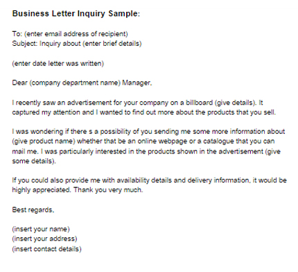 Business Letter Inquiry Sample Just Letter Templates - Format Of Letter Of Enquiry