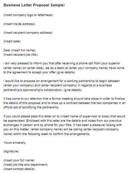 Business Letter Proposal Sample Just Letter Templates - letter of proposal