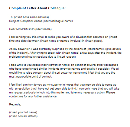 Complaint Letter About Coworker Sample Just Letter Templates - example complaint letter