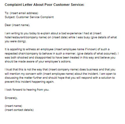 Sample Complaint Letter For Bad Customer Service – Complaint Letters to Companies