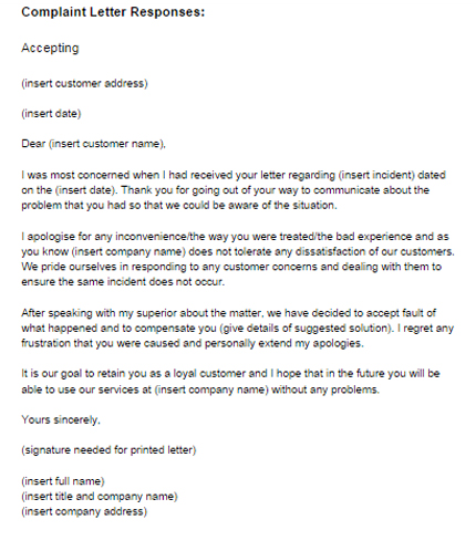 Complaint Letter Response Example Accepting Just Letter Templates - complaint letter examples