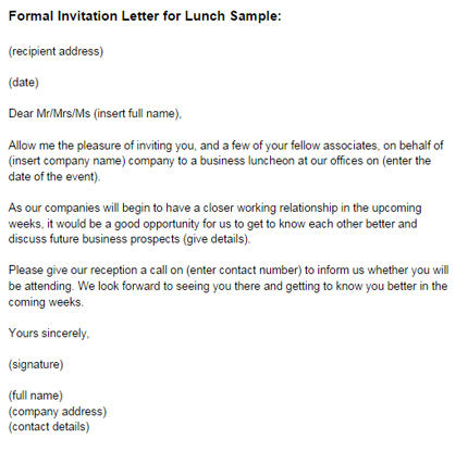 Formal Invitation Letter for Lunch Sample Just Letter Templates