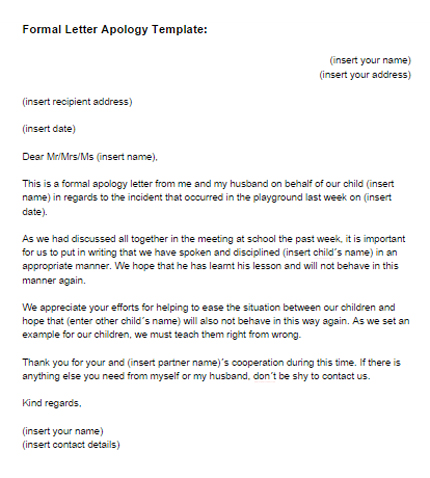 Formal Letter Apology Template Just Letter Templates - letter of apology sample