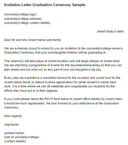 Invitation Letter Graduation Ceremony Sample Just Letter Templates - invitation letter sample