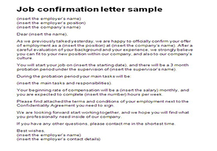 Job confirmation letter sample Letter Confirmation of Job Offer