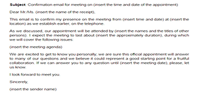 Confirmation Of Employment And Letter Of Recommendation Meeting Confirmation Email Sample Confirming A Meeting