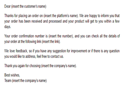 Order confirmation email template Email confirming online order - confirmation email template