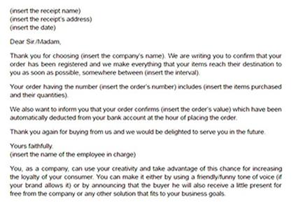 Order confirmation letter template Email confirming order model