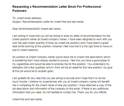 Recommendation Letter Email Request for a Job Sample Just Letter - email sample for job