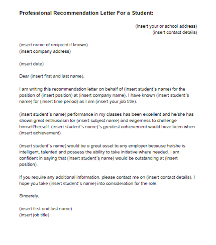 Recommendation Letter for a Student Template Just Letter Templates - recommendation letters for student
