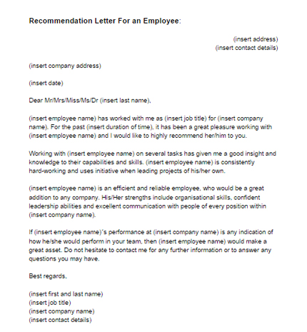 Recommendation Letter for an Employee Sample Just Letter Templates - work recommendation letters