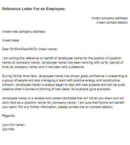 Reference Letter for an Employee Sample Just Letter Templates - letter of reference for employee