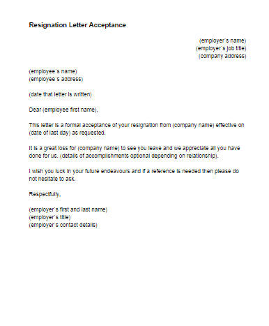 Resignation Letter Acceptance Template Just Letter Templates