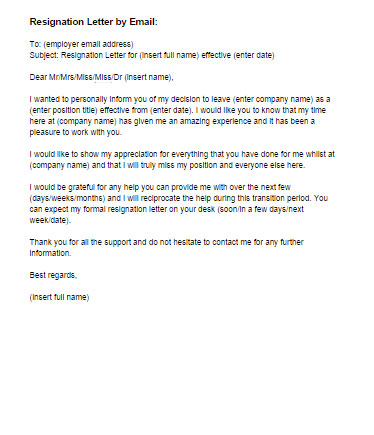 Resignation Letter by Email Sample Just Letter Templates - resignation letter email