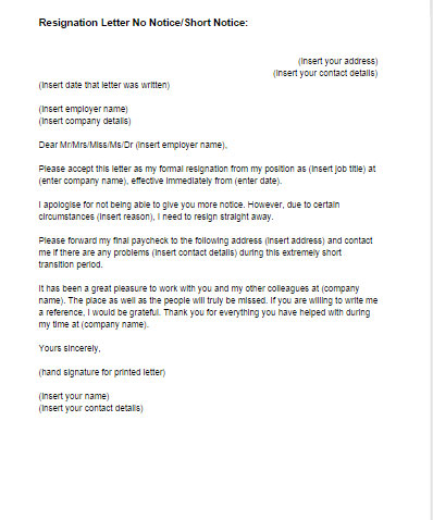 Resignation Letter No Notice Template Just Letter Templates