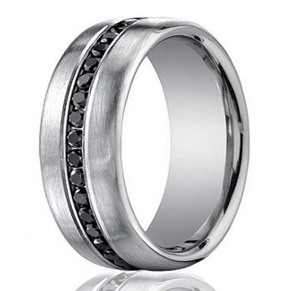 Black Diamond Men S 14k White Gold Diamond Wedding Ring With 20 Black Diamonds 7 5mm Jbd1009