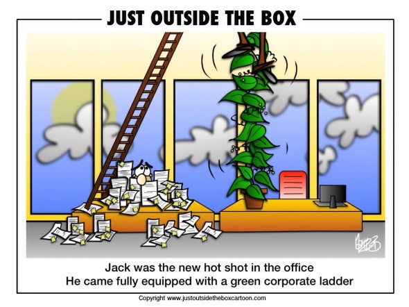 Corporate Ladder Just Outside The Box Cartoon