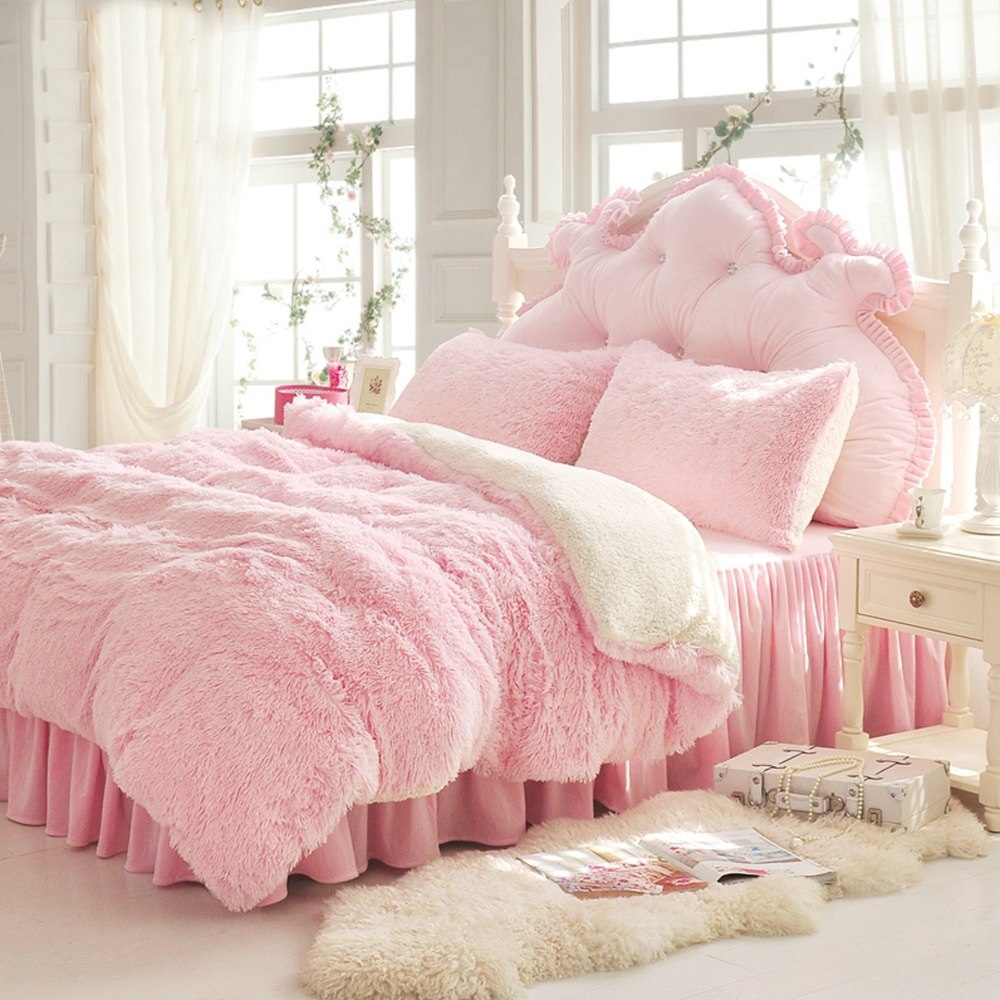 Pink Duvet Cover Luxury Pink Plush Shaggy Duvet Cover Set