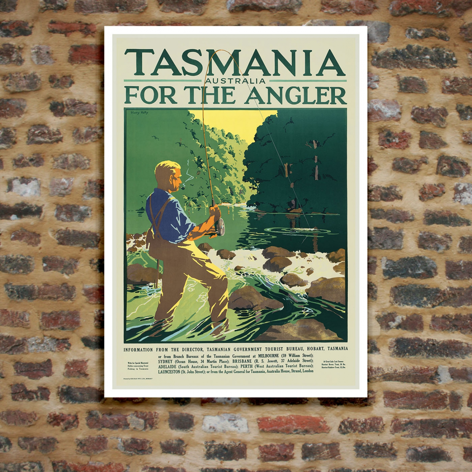Posters Perth Tasmania For The Angler Vintage Travel Poster Just Posters