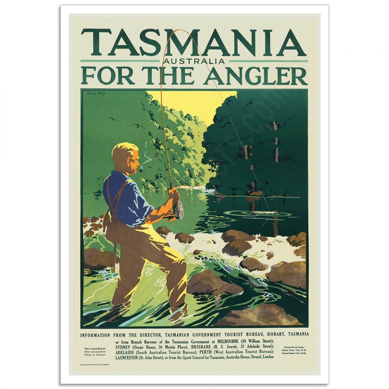 Poster Strand Tasmania For The Angler Vintage Travel Poster Just Posters