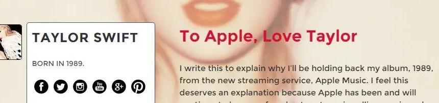taylor swift speaks to apple music