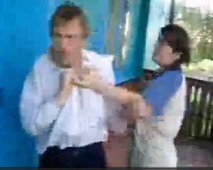 drunk husband beaten in public by wife