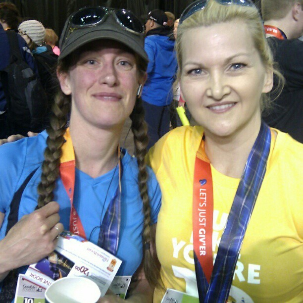 Me with Tina Simpkin, the nicest meteorologist ever. AND a great runner to boot!