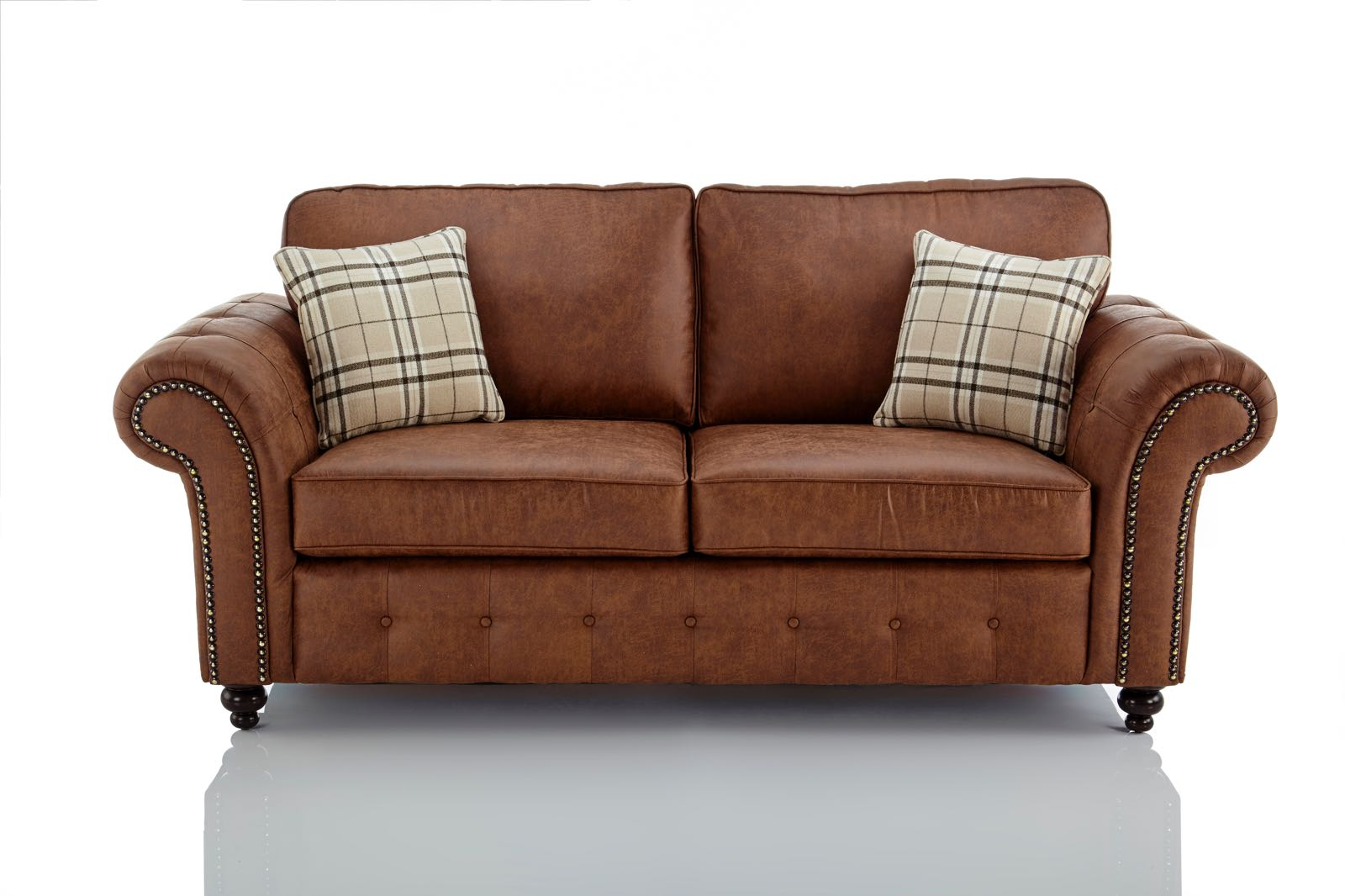 Kunstleder Couch Oakland Faux Leather 3 Seater Sofa In Brown | Just Sleep On It