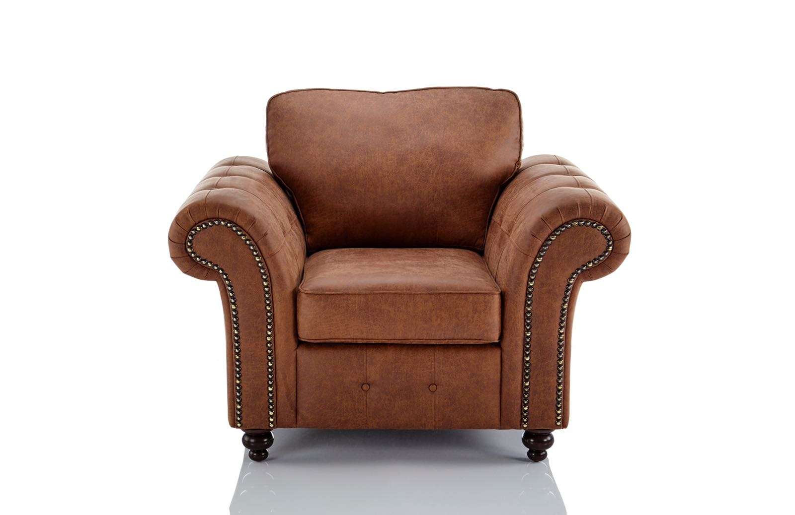 Chesterfield Sofas Lincoln Oakland Faux Leather Armchair In Brown | Just Sit On It