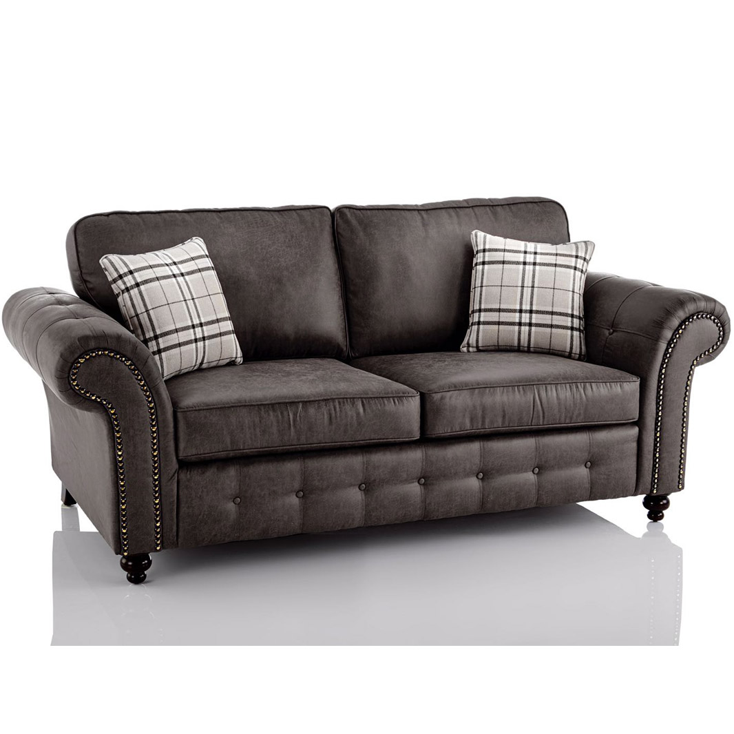 Kunstleder Couch Oakland Faux Leather 3 Seater Sofa In Black | Just Sleep On It