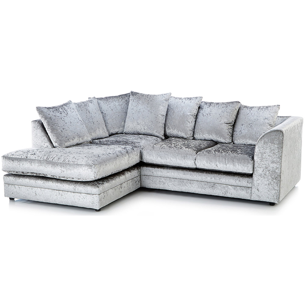 Chesterfield Sofas Lincoln Michigan Crushed Velvet Corner Sofa Left Hand Silver